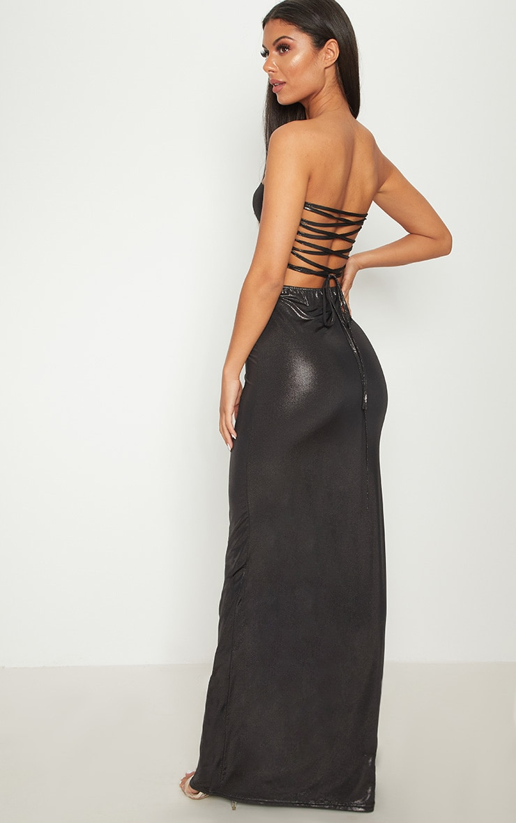 Black Bandeau Metallic Lace Up Back Maxi Dress 1