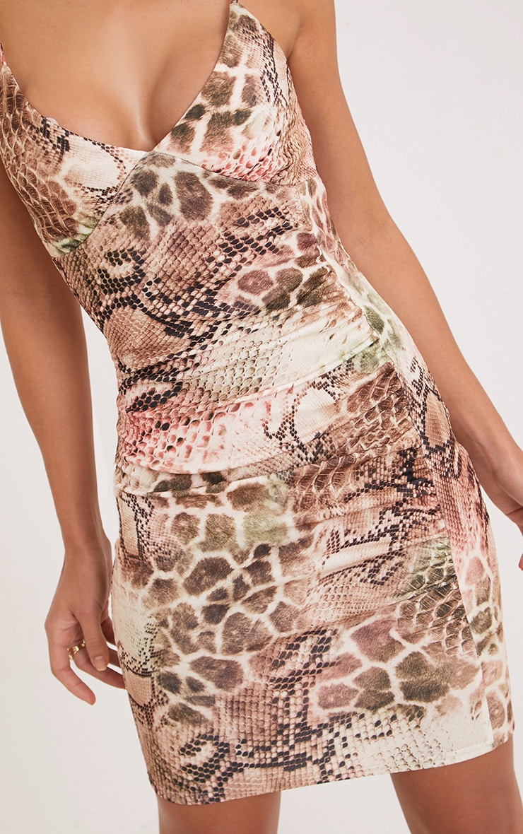 Nevaeh Tan Snake Print Bodycon Dress 5