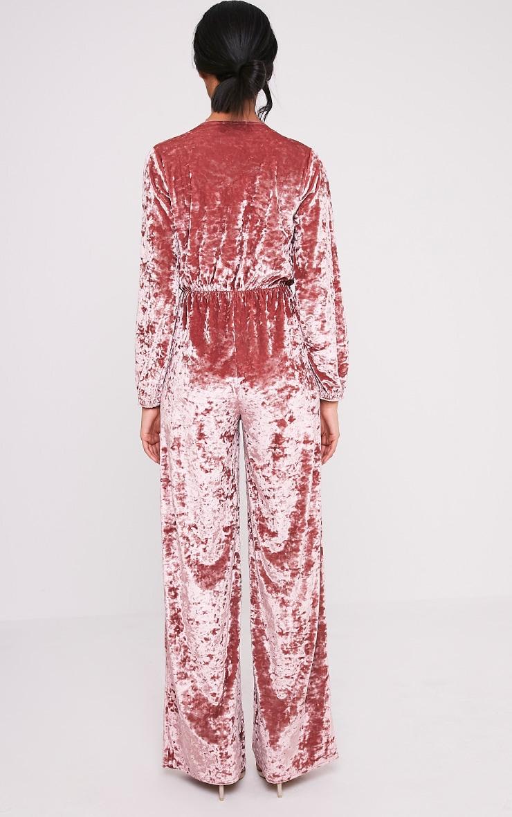 Alana Dusty Pink Velvet Wrap Front Jumpsuit 2