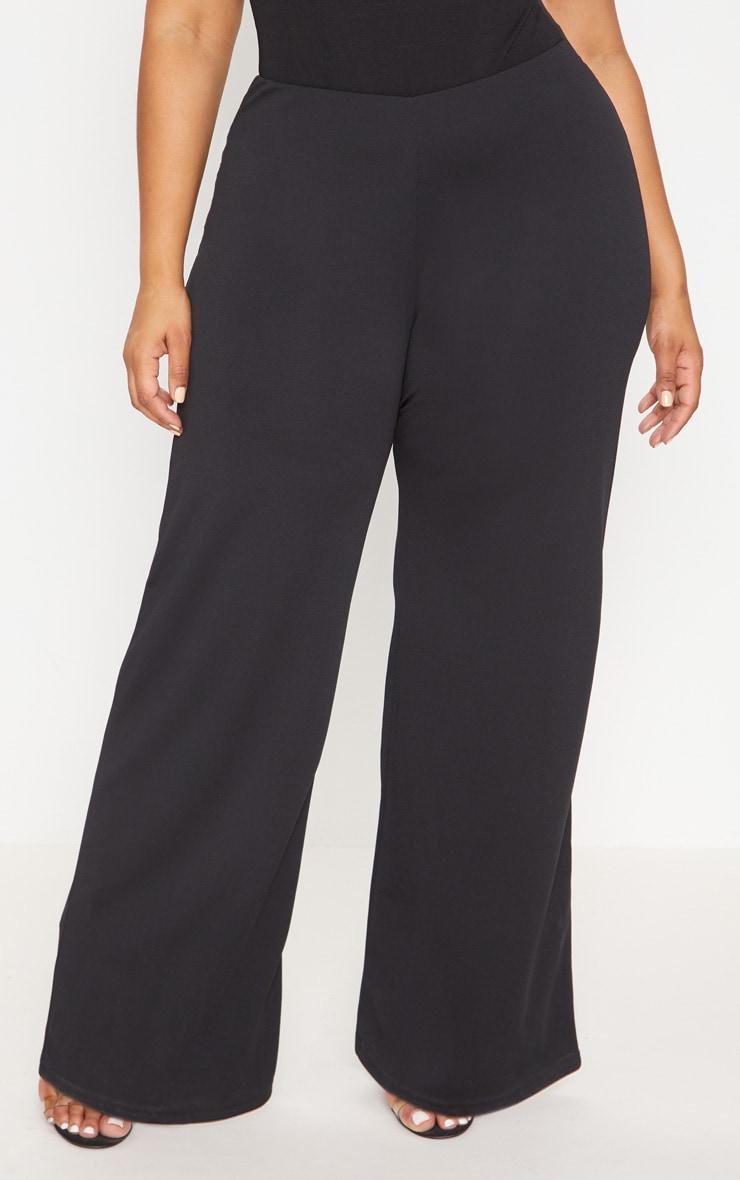 Plus Black High Waisted Wide Leg Trouser 2