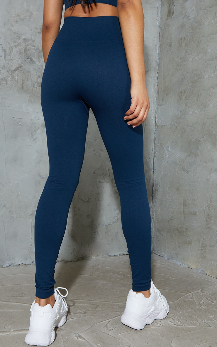 Navy Basic Seamless High Waist Gym Leggings 3