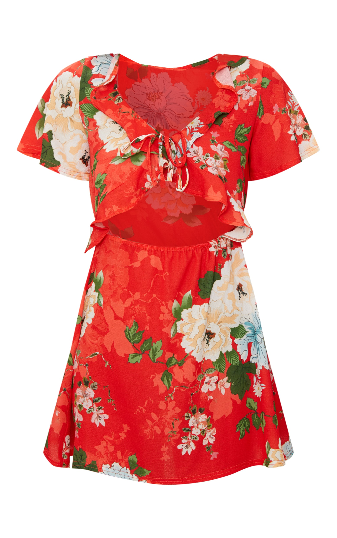 Red Floral Print Frill Detail Tea Dress 3