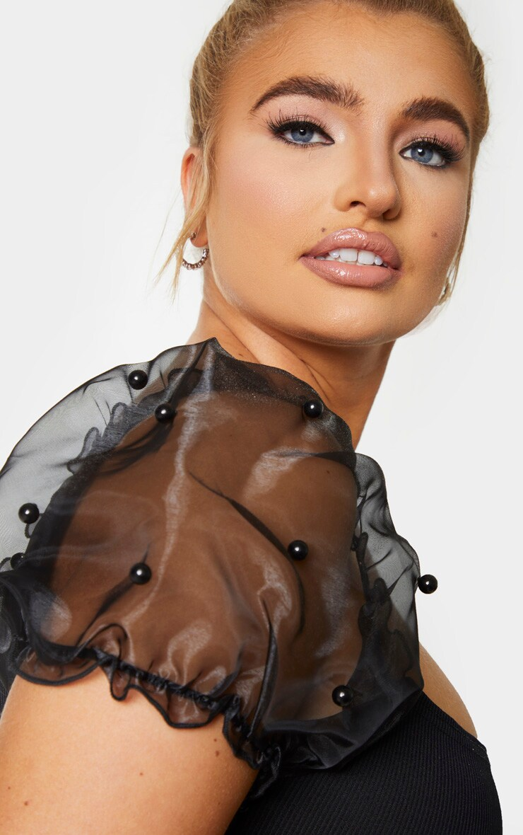 Plus Black Organza Beaded Puff Sleeve Bodycon Dress 4