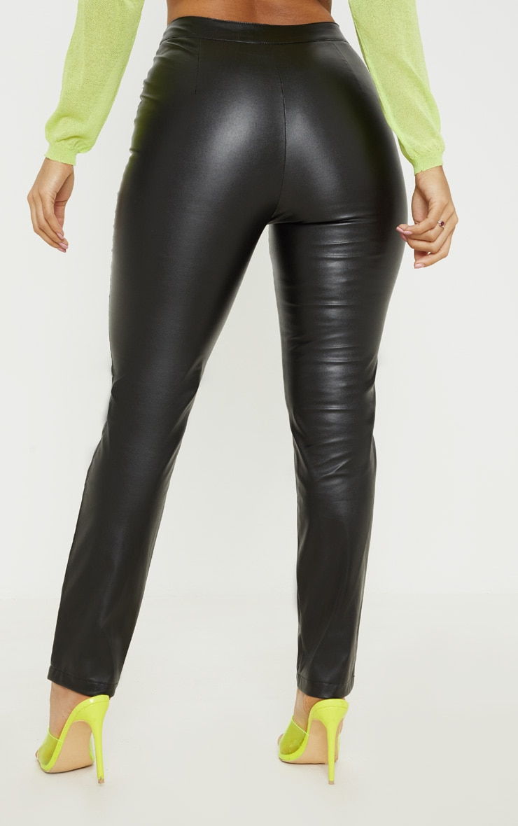 Pantalon droit en similicuir noir à zip et colourblocks fluo 4