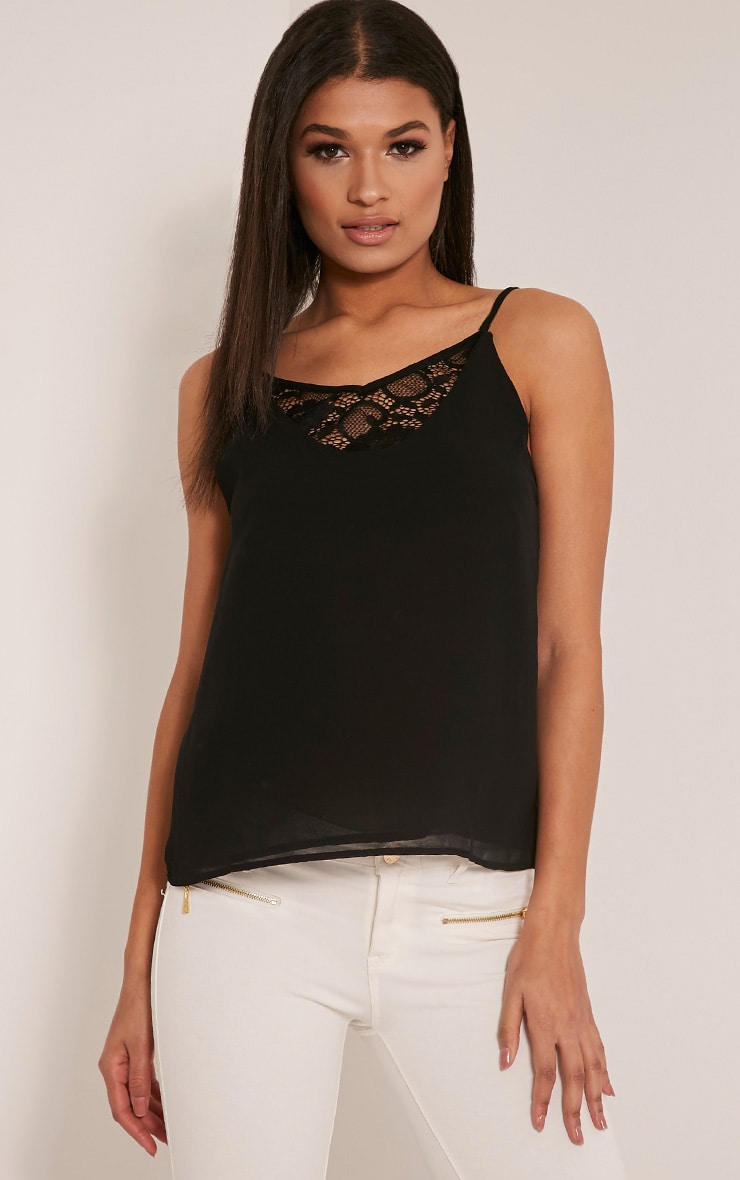 Sienna Black Lace Insert Cami Top 1