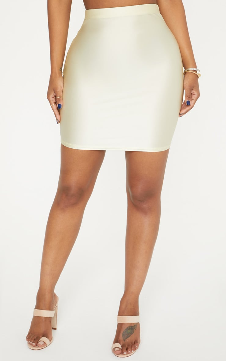 Shape Champagne Slinky Metallic Mini Skirt 2