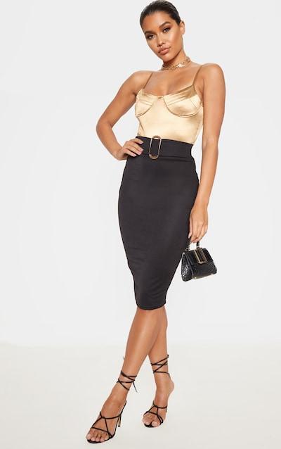 Black High Waisted Belted Midi Skirt