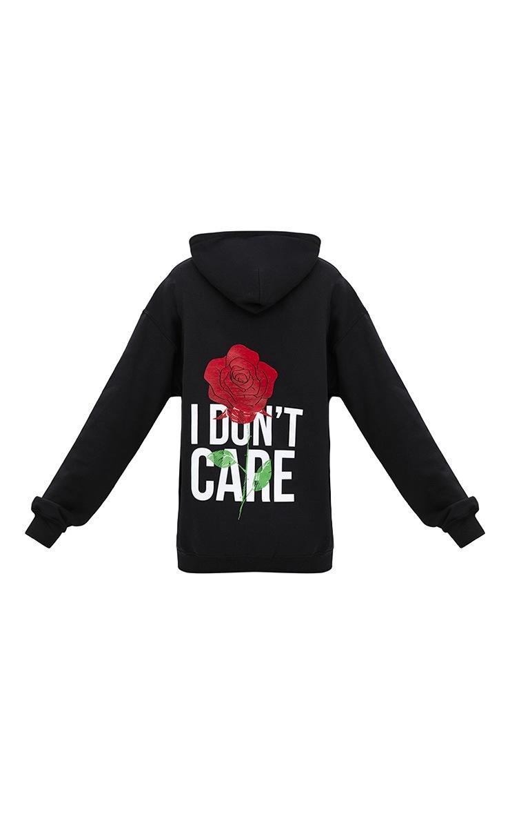 Black I Don't Care Slogan Back Oversized Hoodie 4