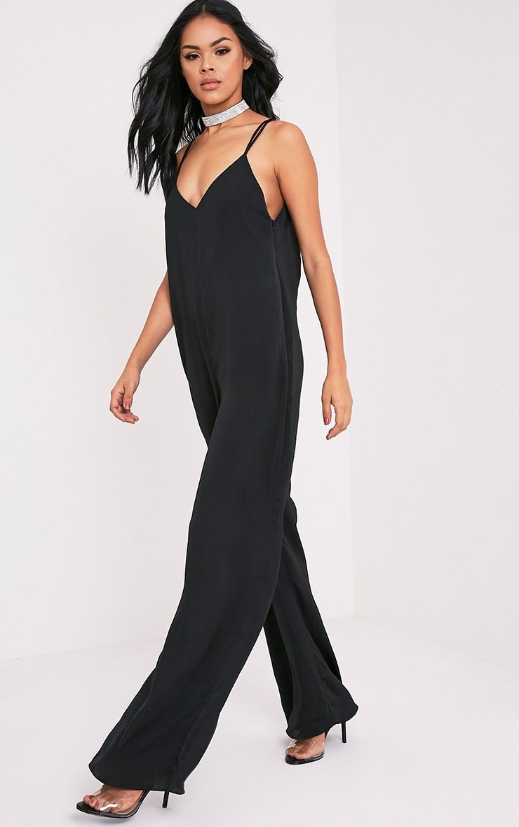 Elisabeth Black Oversized Satin Harness Wide Leg Jumpsuit 4