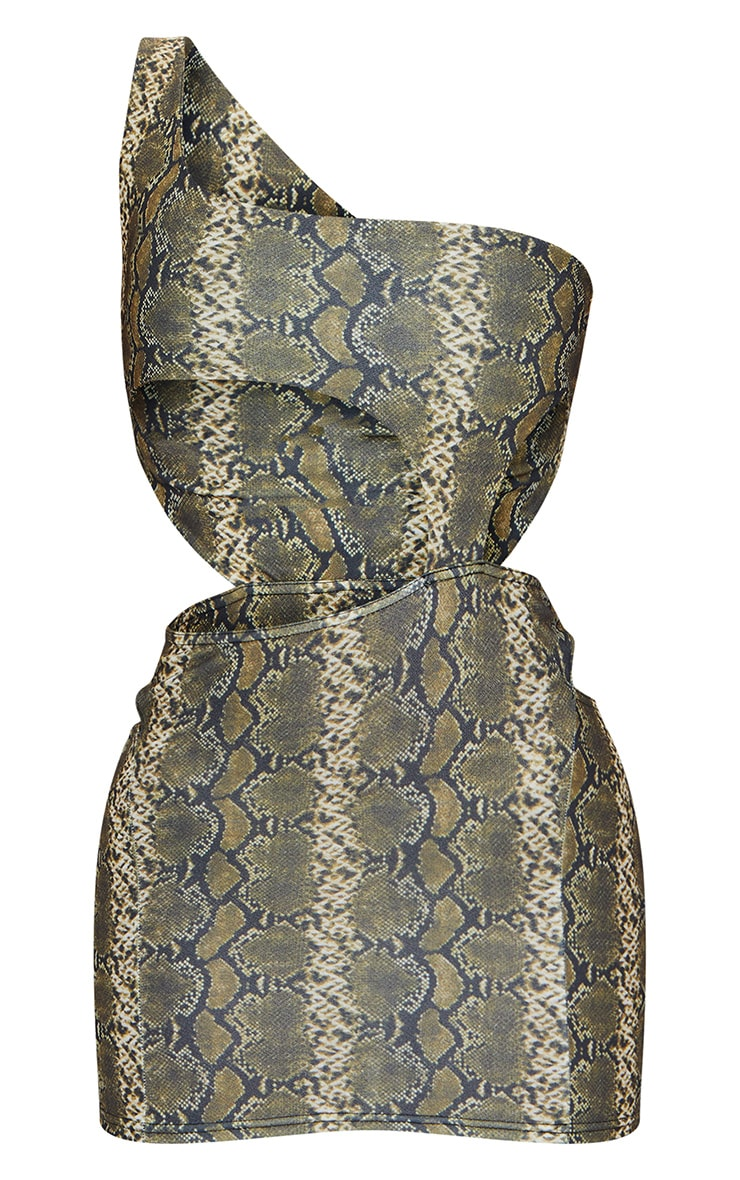 Brown Snake Print One Shoulder Cut Out Bodycon Dress 5