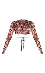 Stone Marble Print Slinky Cut Out Plunge Front Long Sleeve Crop 5