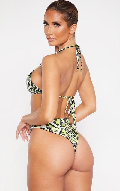 Lime Snake Textured Upside Down Triangle Bikini Top