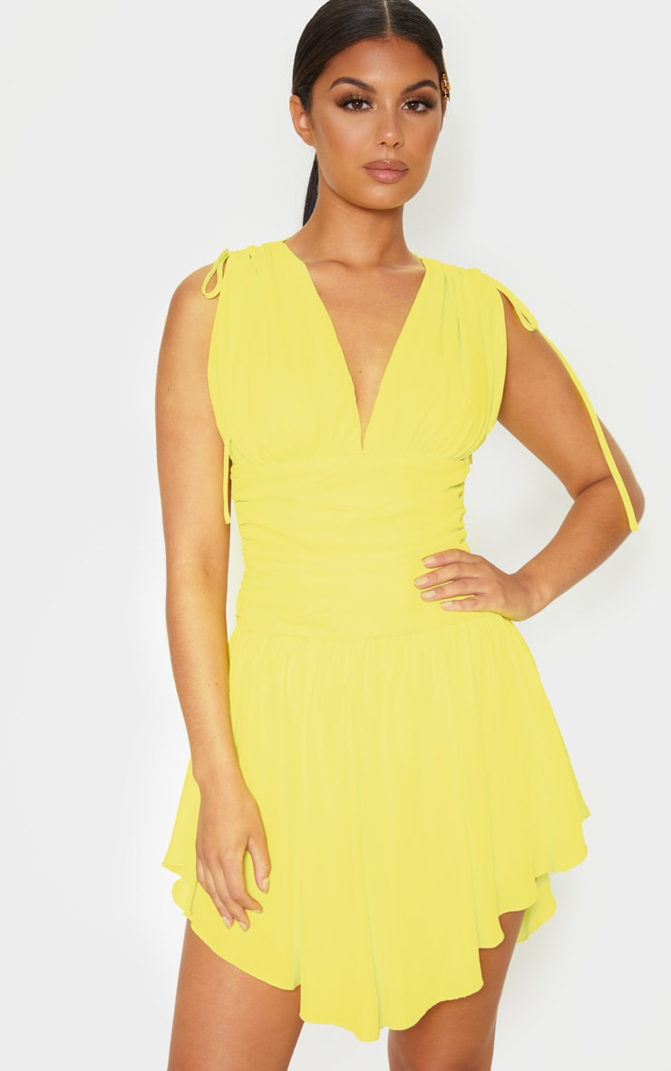 Yellow Plunge Ruched Waist Asymmetric Hem Shift Dress 4
