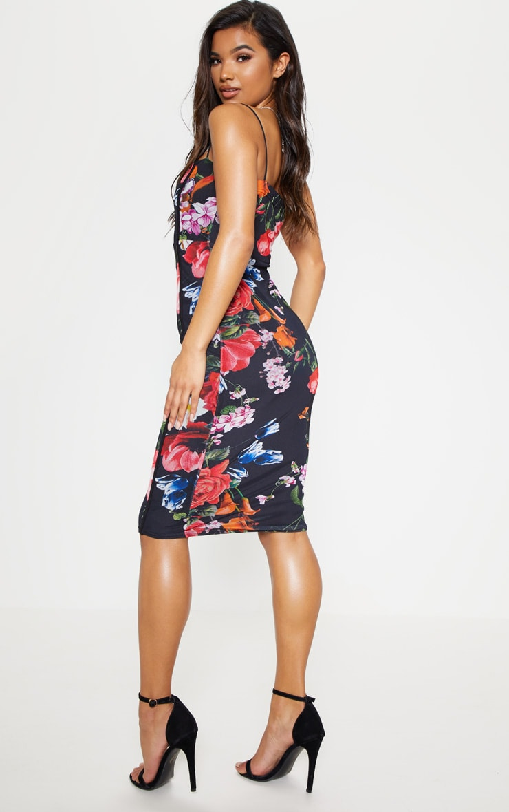 Black Floral Print Strappy Piped Detail Midi Dress 3