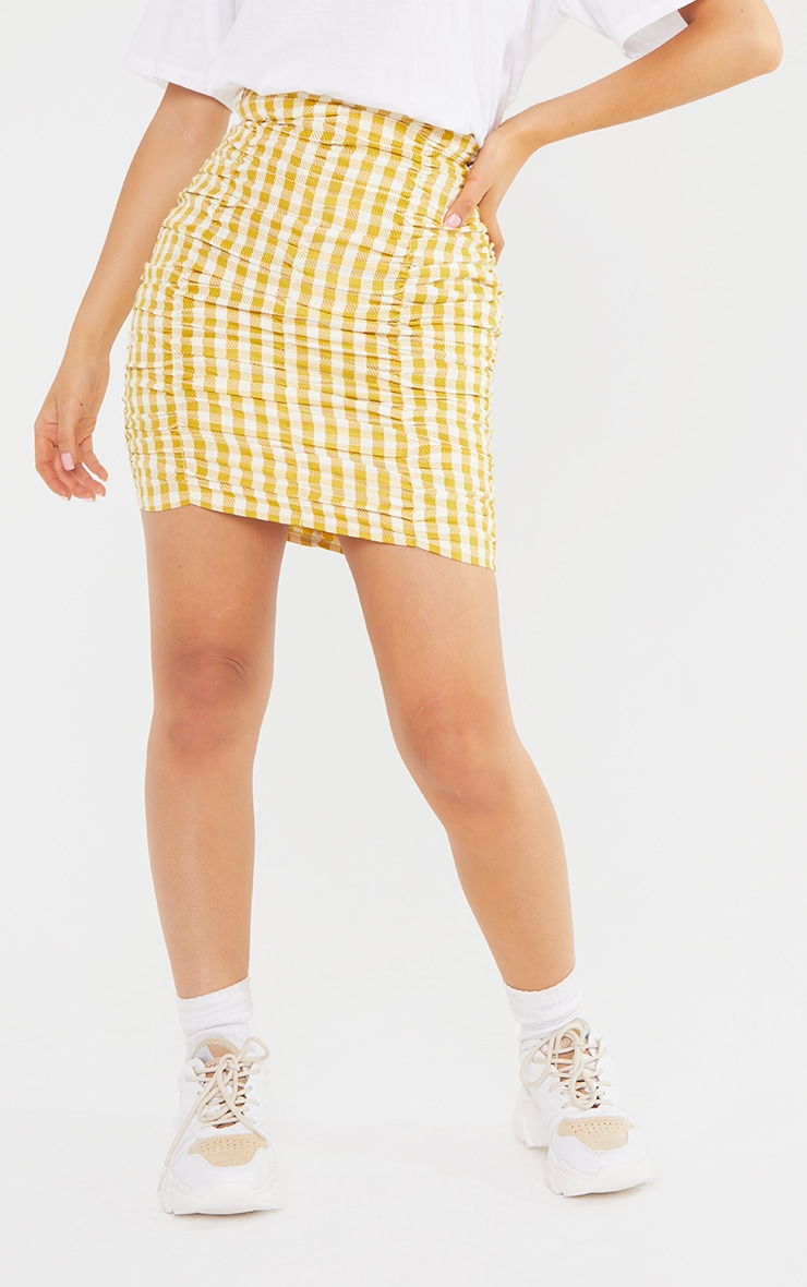 Petite Yellow Gingham Ruched Bodycon Skirt 2