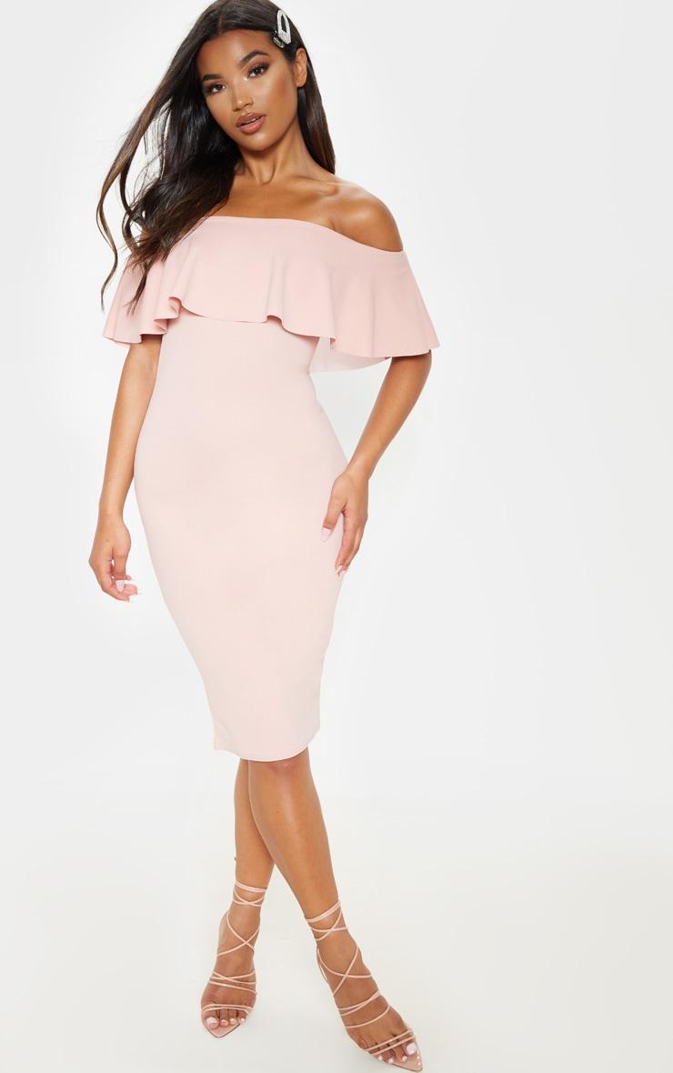 Celinea Blush Bardot Frill Midi Dress 1