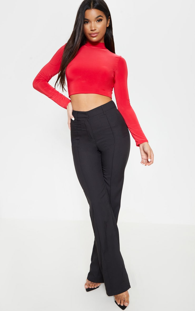Red Slinky High Neck Long Sleeve Crop Top 4