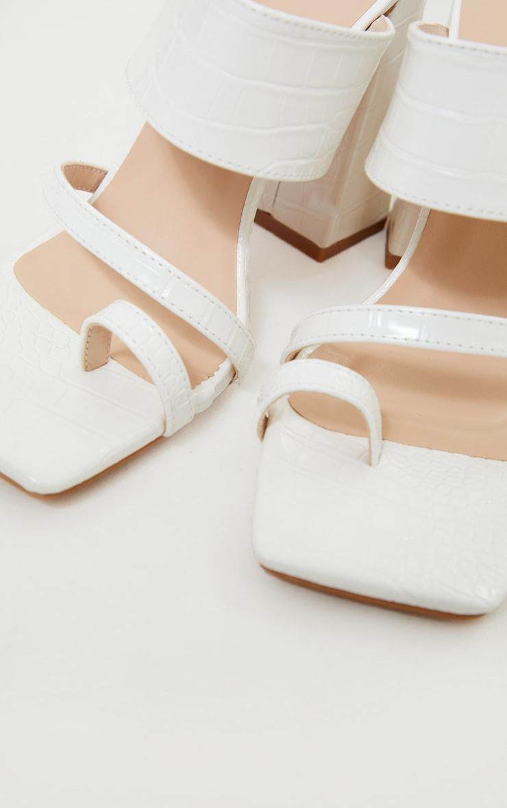 White Wide Fit PU Croc Toe Loop Block Heel Mules 4