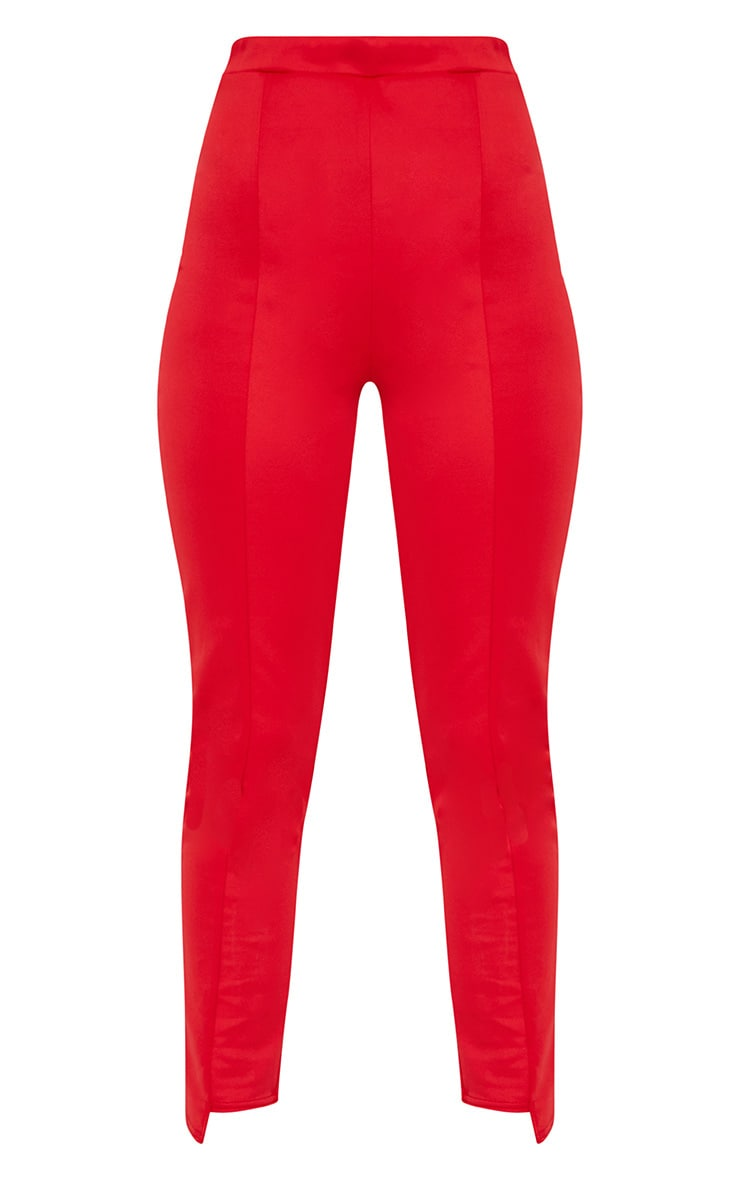 Red Scuba Step Hem Skinny Trousers 3