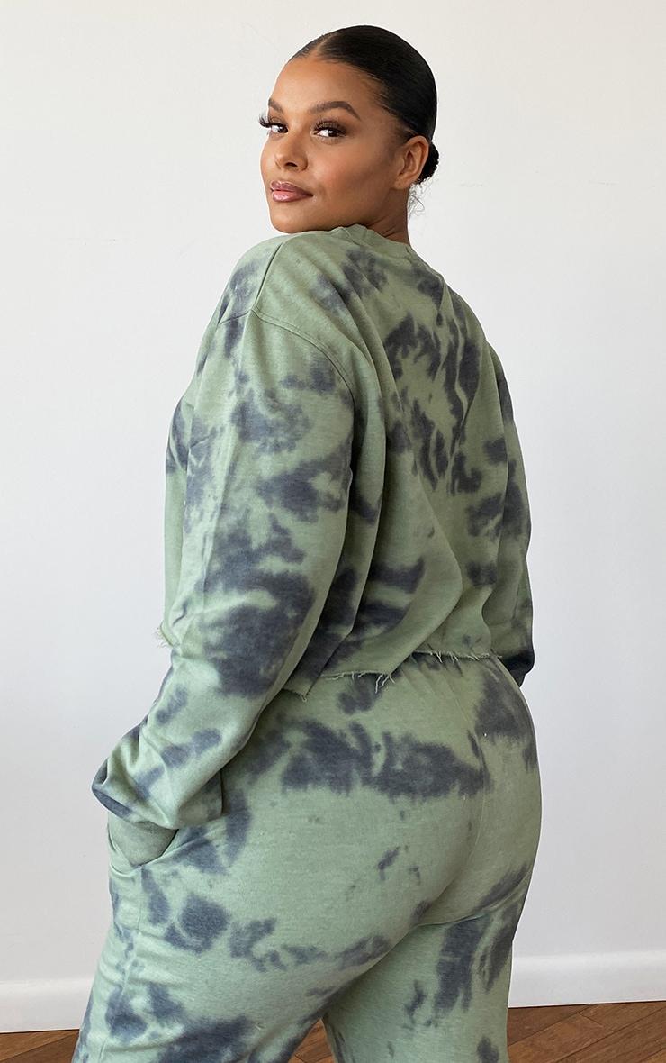 Plus Sage Green Tie Dye Cropped Sweater 2