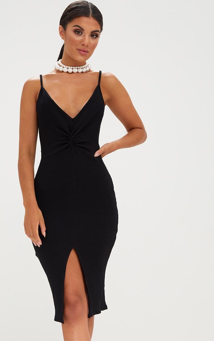 Black Ribbed Twist Front Midi Dress 1