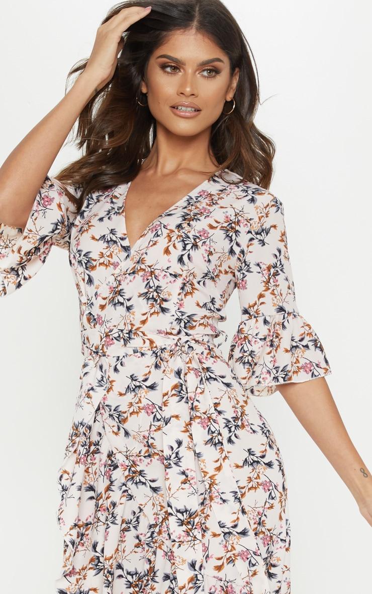Pink Floral Print Frill Hem Midi Tea Dress 5