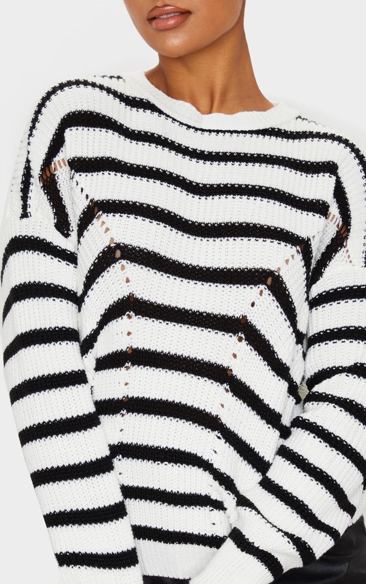 Monochrome Pointelle Detail Stripe Knitted Sweater 5