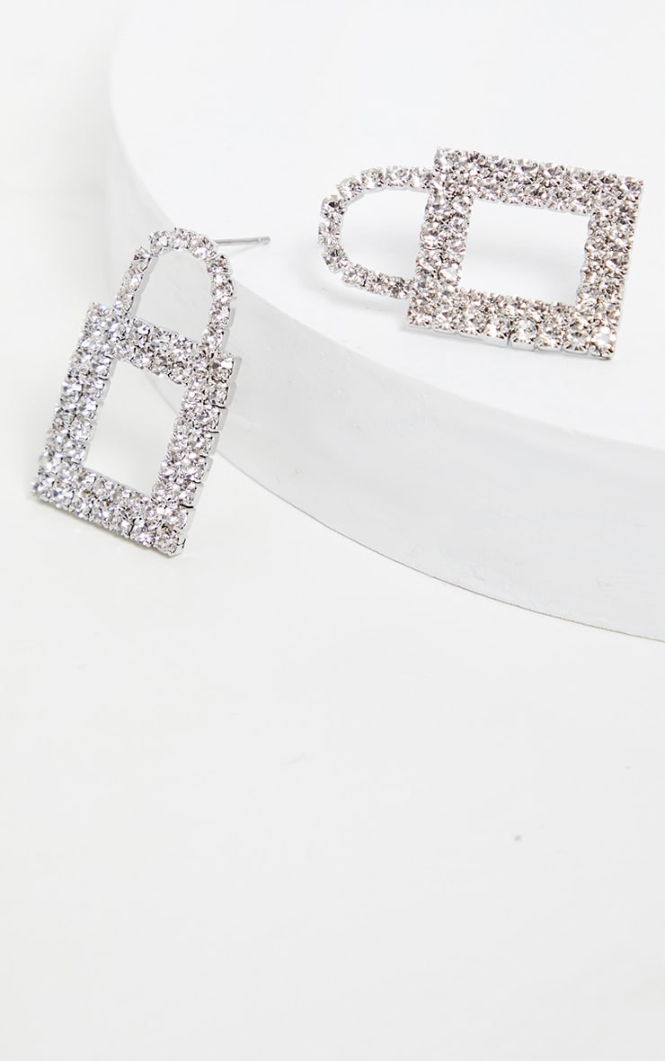 Silver Diamante Padlock Studs 2