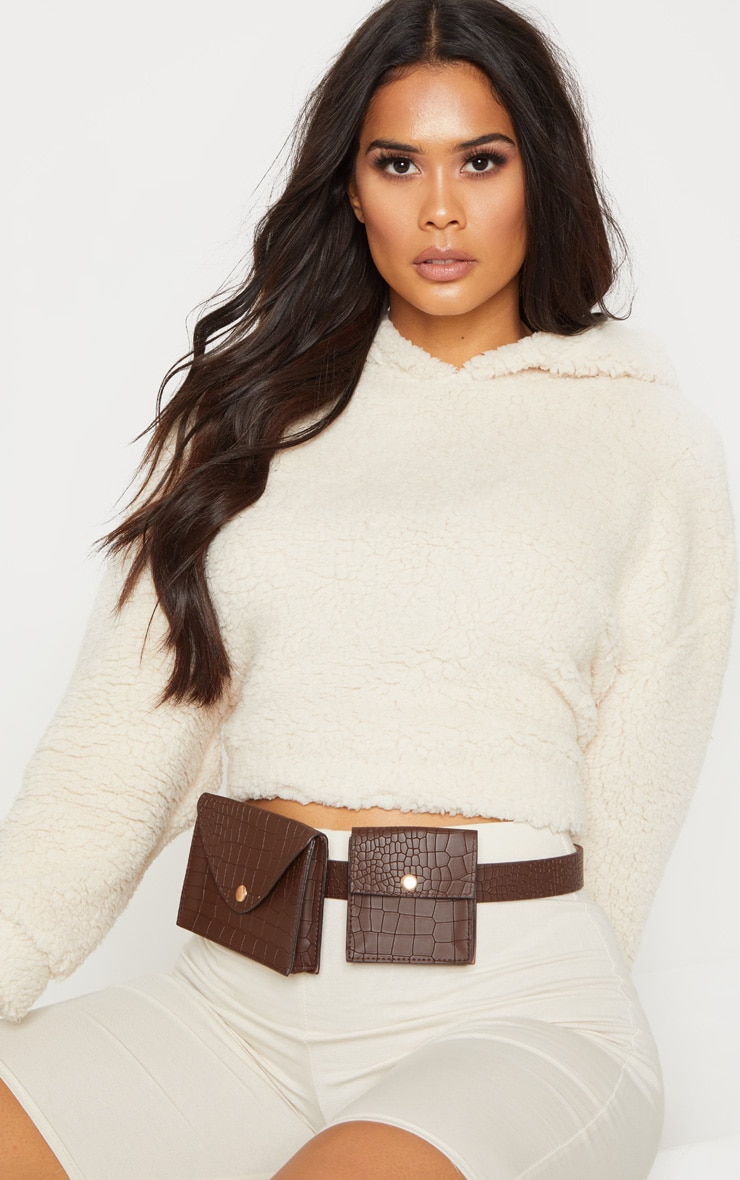 Chocolate Belted Double Pouch Bum Bag