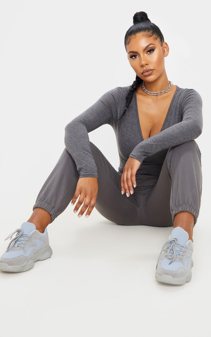 Basic Charcoal Grey V Neck Long Sleeve Bodysuit 5