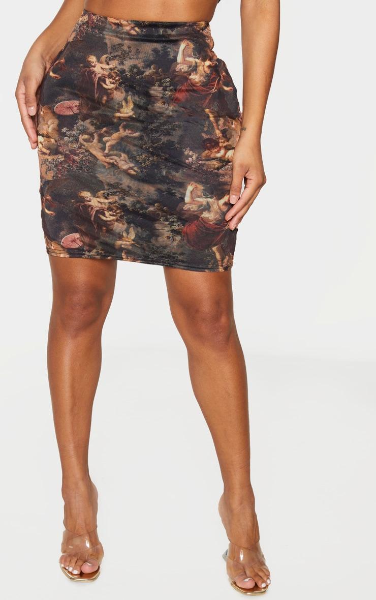 Shape Brown Renaissance Print Mesh High Waist Bodycon Skirt 2