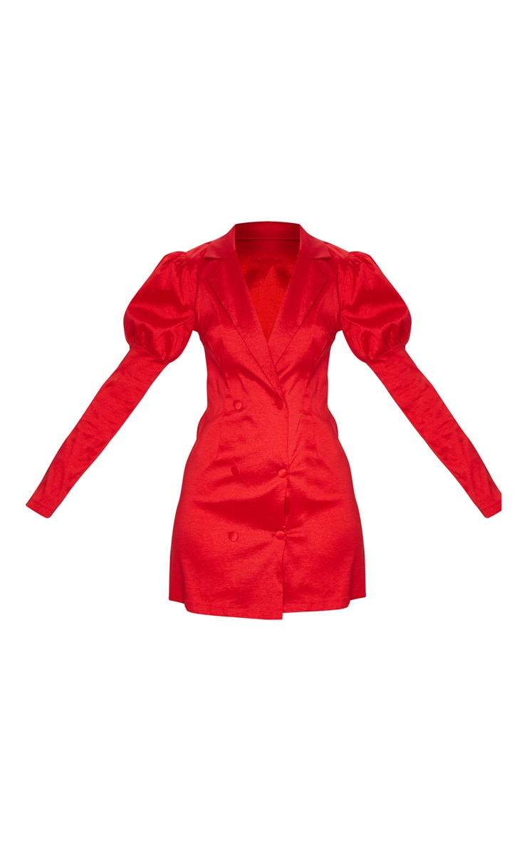 Red Woven Puff Sleeve Blazer Dress 3