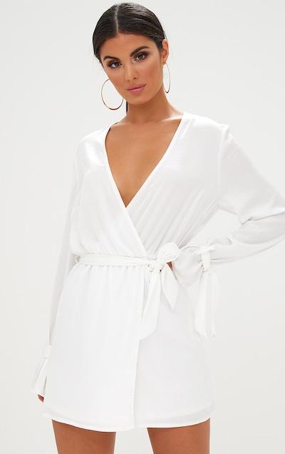 7711550b3a4 White Satin Wrap Cuff Detail Shift Dress