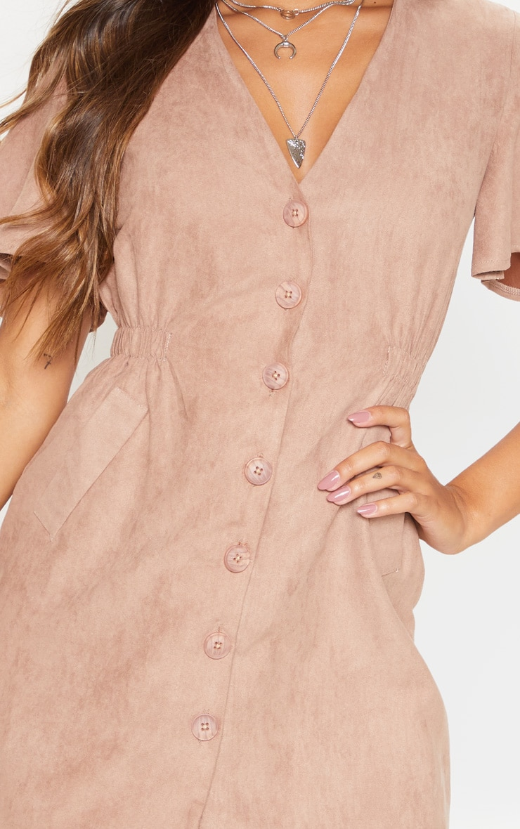 Taupe Faux Suede Button Front Shirred Side Shift Dress 5