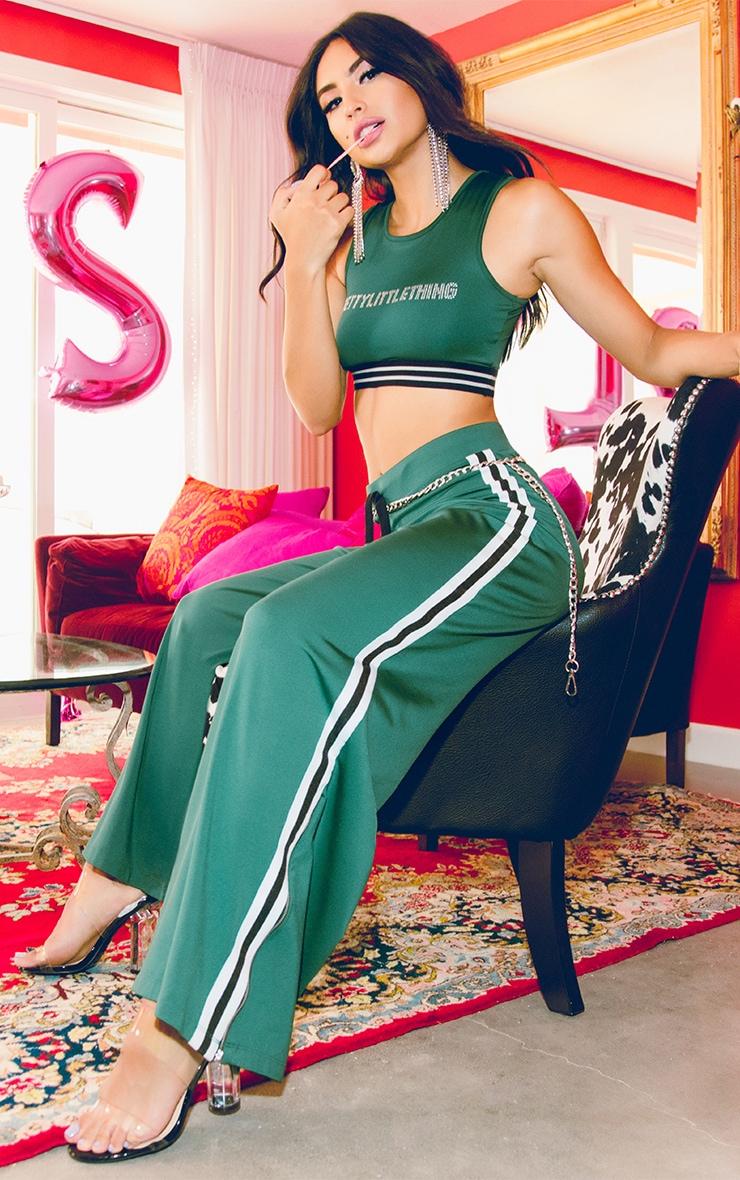 Green Wide Leg Sport Trouser 1