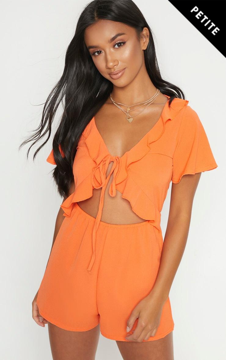Petite Orange Short Sleeve Frill Tie Front Romper