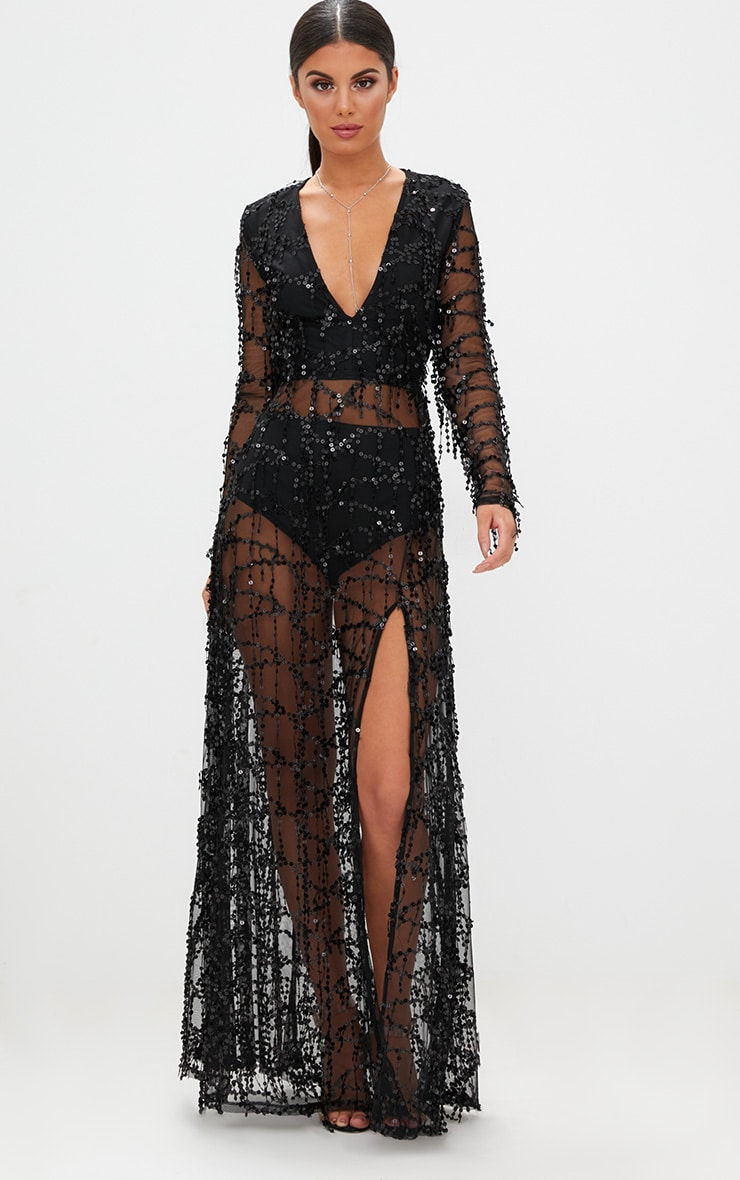 Valentina Black Sequin Long Sleeve Maxi Dress 1