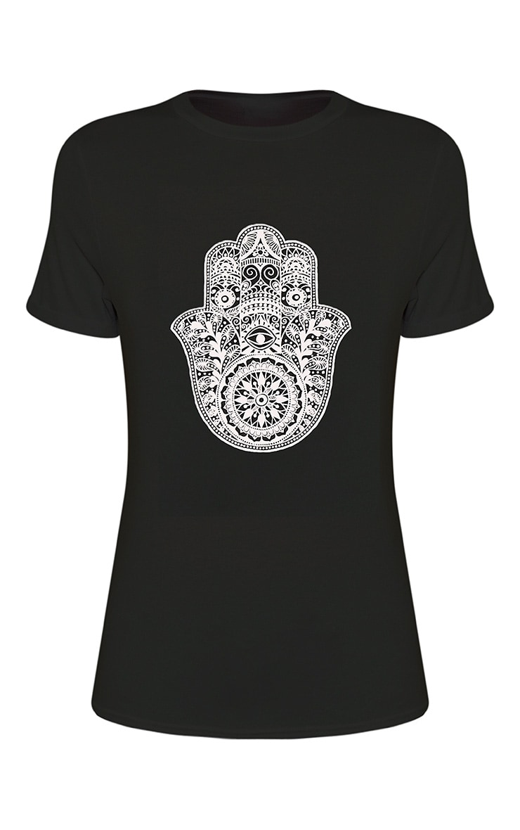 Hamza Print Black T-Shirt 3