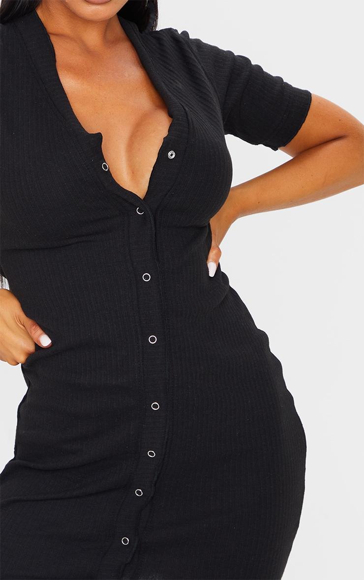 Black Thick Rib Popper Frill Edge Bodycon Dress 4