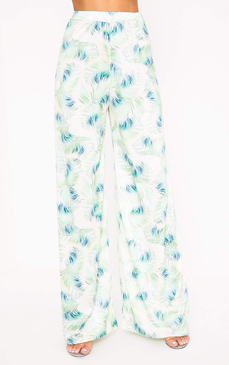 White Tropical Leaf Print Slinky Wide Leg Trousers 2