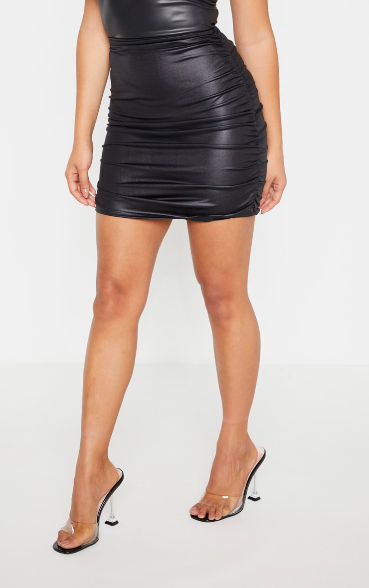Petite Black Double Ruched Coated Mini Skirt 3