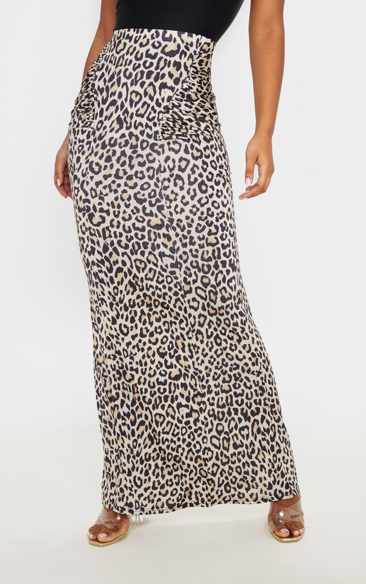 Grey Print Slinky Ruched Detail Maxi Skirt  2