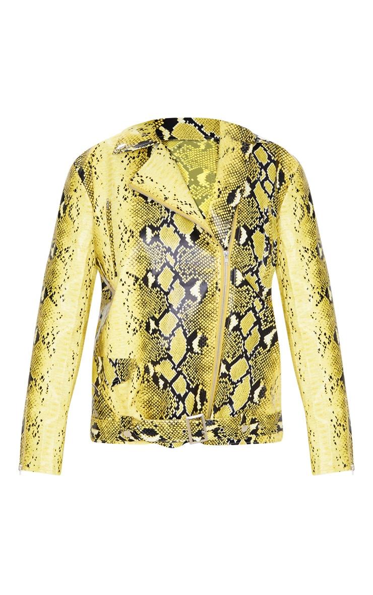 Yellow Snake Print Faux Leather Biker Jacket 3