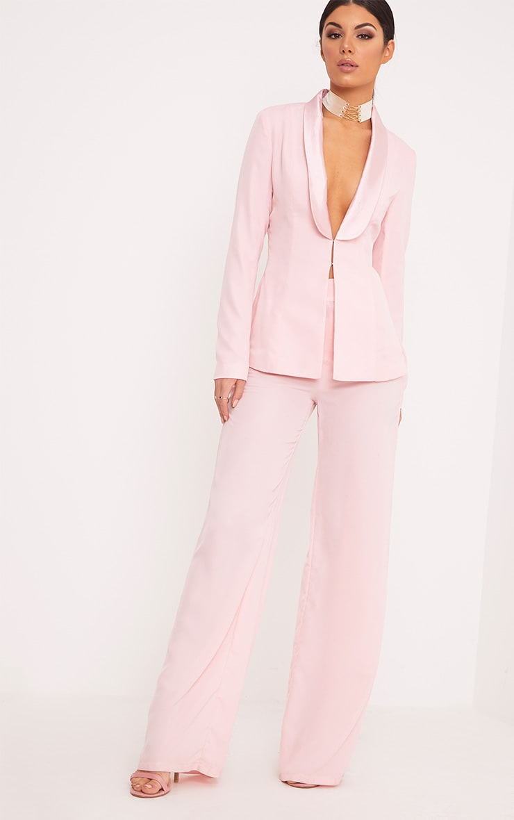 Elnie Baby Pink Wide Leg Suit Trousers 1