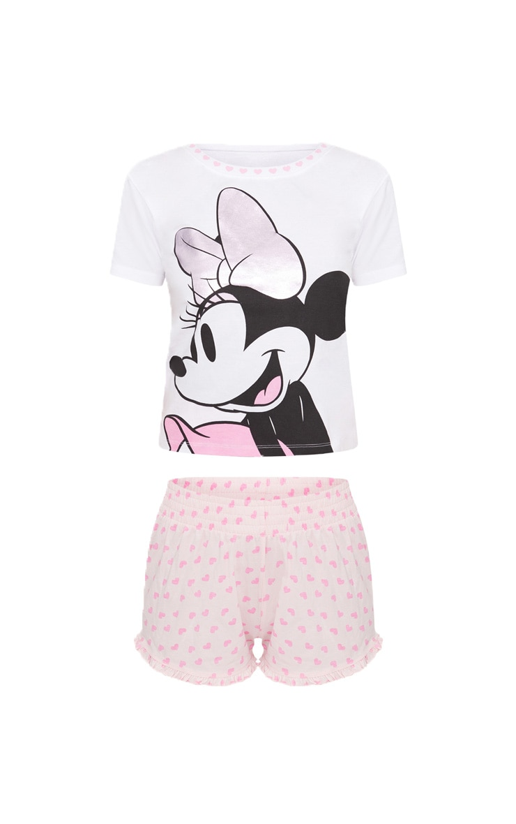 Pale Pink DISNEY Minnie Mouse Frill Detail Short Pyjama Set 3