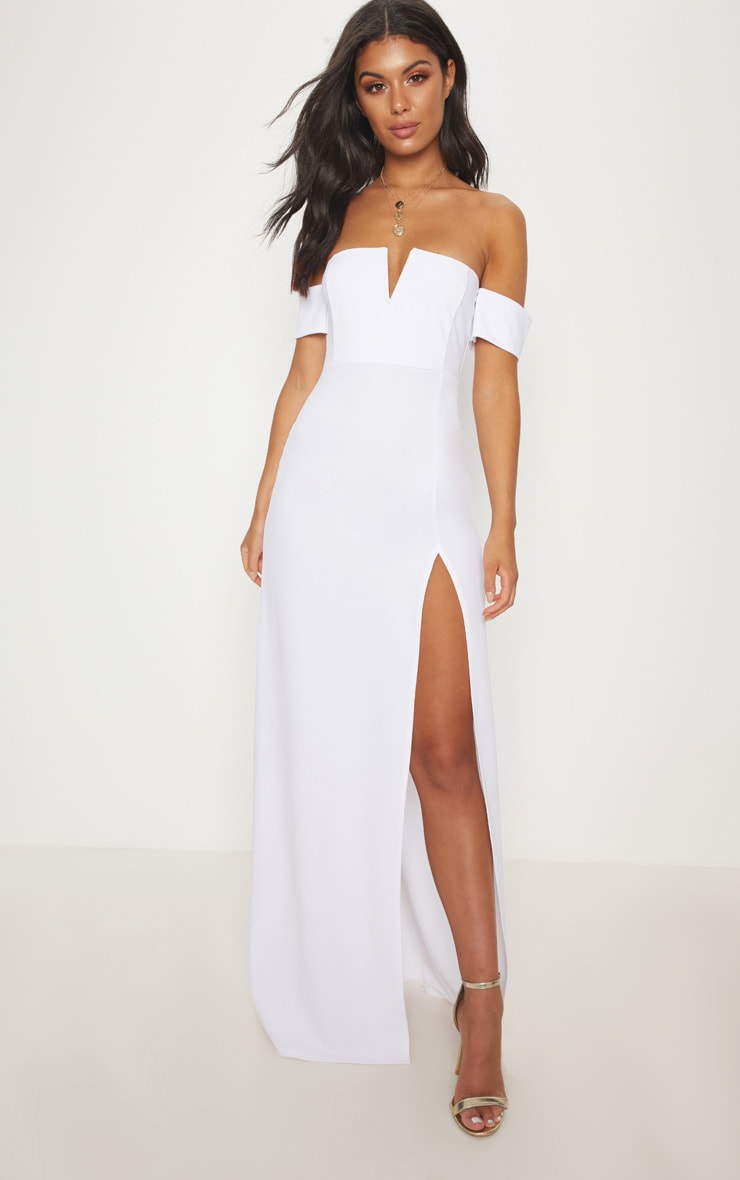 White Bardot V Bar Extreme Split Maxi Dress 1