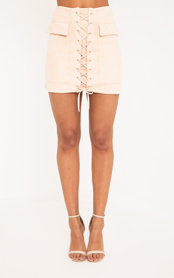 Ziva Blush Faux Suede Lace Up Mini Skirt 2