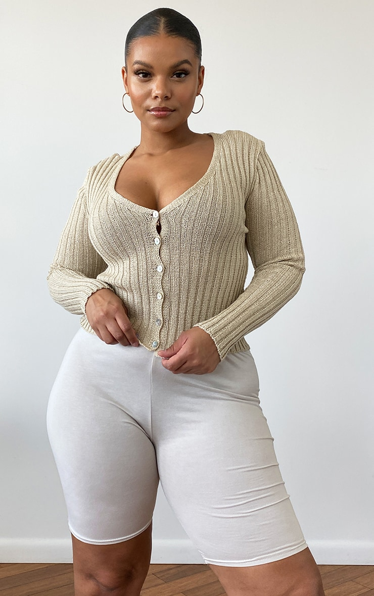 Plus Beige Skinny Fit Cardigan 1