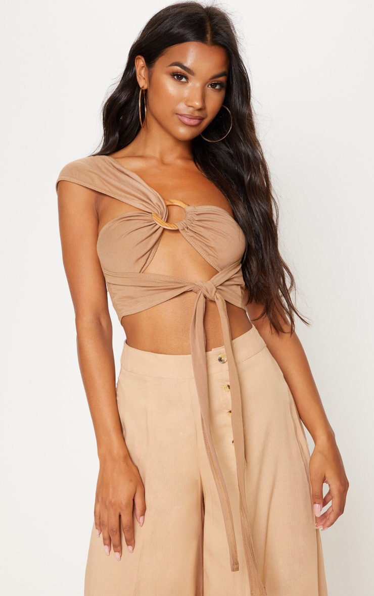 Tan One Shoulder Ring Detail Bandeau Crop