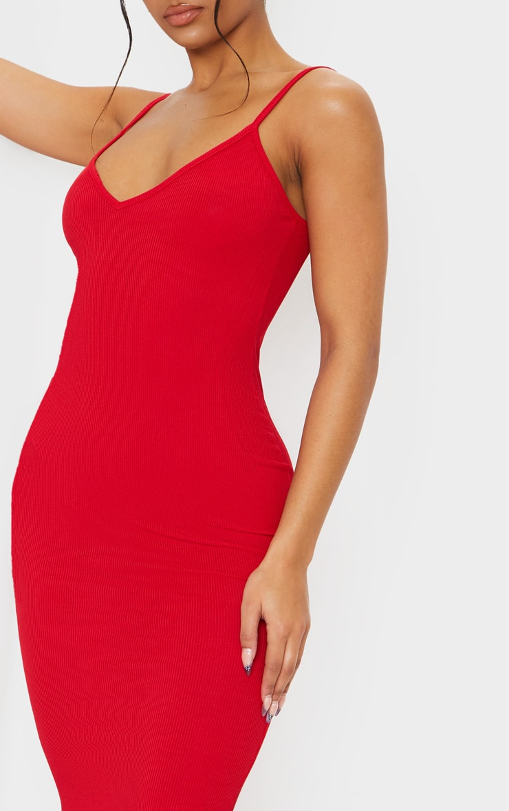 Red Ribbed Plunge Bodycon Dress 5